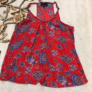Cynthia Rowley Red Print Razorback Blouse Size S